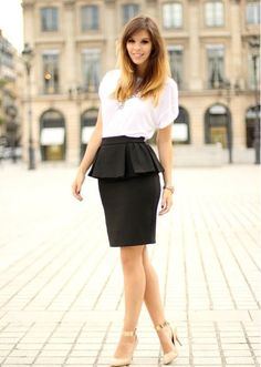 Spring / summer - chic style - work outfit - business casual - peplum pencil skirt + white loose t shirt + nude heels