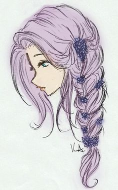drawing girl hair - Google Search