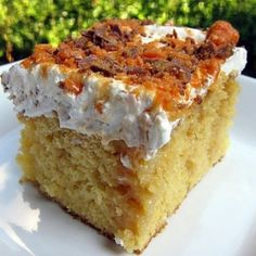 This cake will happen in the very near future.   Sweetened condensed milk, caramel, toffee?? Looks so good.