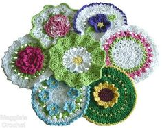 Cute floral crochet potholder patterns from Maggie's Crochet