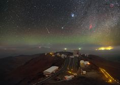 Skies over ESO at La Silla. Composite image made from a series of long exposures taken in January 2015. It shows Comet Lovejoy, glowing green in the center; the Pleiades above & to the right; the red California Nebula to the right & level with the comet; the streak of a meteor to the left of the comet. (Image: P. Horálek/ESO)