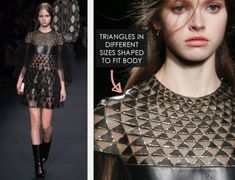 Geometric Monochrome at Valentino |The Cutting Class. Valentino, AW15, Paris, Image 19. Triangles in different sizes shaped to fit body.