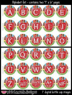 Apples & Rulers  Back To School Alphabet Set -- Bottle Cap Art for hair bows or other bottle cap crafts -- $2.50