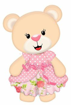 Bear Beige in Pink Polka Dot & Flower Dress Clipart Baby, Cute Clipart, Scrapbook Images, Baby Applique, Disney Animator Doll, Baby Shawer, Baby Clip Art, Bear Party, Bear Cartoon