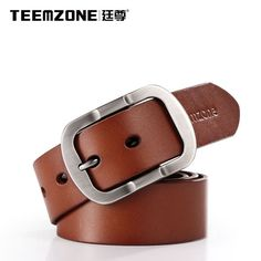 Men Cow Leather 1.5   Alloy Roller Buckle Stylish Jeans Trouser Waist Belt Brown