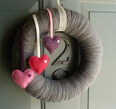 Yarn Wreath Felt Handmade Door Decoration Falling by ItzFitz, $45.00