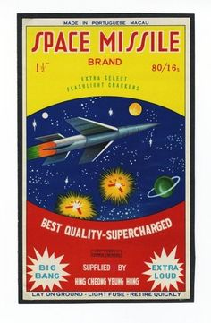 Space Missile Firecracker Brick Label.