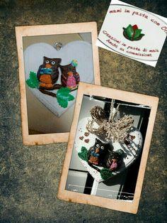 Le mani in pasta con Oriana, Gufetti innamorati, base legno e creazione in pasta di mais