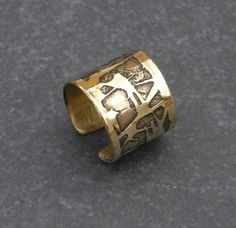 Golden brass ring adjustable metal ring handmade by BaccaraSilver