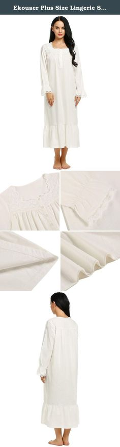Ekouaer Plus Size Lingerie Sleep Dress Womens Comfort Nightwear Gowns (White, XXL). Ekouaer Sleepshirts Womens Long Sleep Wear Dress Comfy Victorian Nightgown S-XXL Soft breathable 100% cotton nightgown from Ekouaer, perfect for nightwear Ankle length long-sleeved sleep gown featuring delicate floral lace trim at neckline, front button placket Beautiful victorian style sleepshirts, long sleeve with lace details, great for women of all ages These comfy night dresses for women double up as…