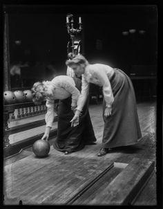 c. 1900s:  Women bowling