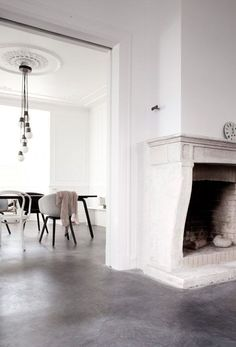 Classy interior #grey #white live the hanging light bulbs look