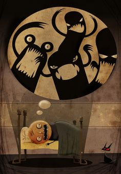 """Sueño""... by Chavetta Lepipe... illustrates a lighthearted look at a nightmare... <3"