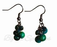 Azurite Chrysocolla Cluster Earrings by Bijoux Sparkles