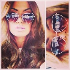 ♡Sunglasse I'd wear heart ones! #women #fashion #sunglasses #beauty