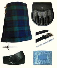 Mens Scottish 6 Piece Casual Kilt Outfit with Sporran, Black Watch Tartan Kilt #AllSafe #BeltBeltBuckleKiltKiltPin