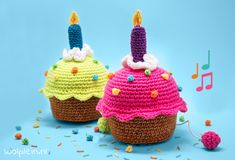 Birthday cupcake – gratis haakpatroon - My CMS Crochet Cake, Crochet Food, Crochet For Kids, Free Crochet, Baby Birthday Decorations, Happy Birthday Cupcakes, Baby Cupcake, Easy Crochet Patterns, Amigurumi Patterns