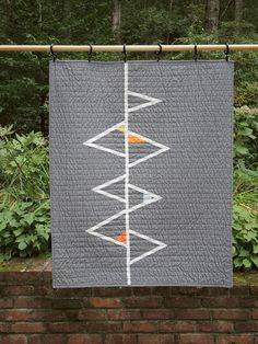 Modern Geometric Quilt - Grey Triangles II