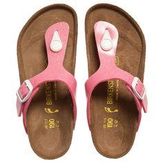 Birkenstock Girls Glitter Pink 'Gizah' Toe Post Sandals at http://www.childrensalon.com/#a_aid=51f456f914eb5