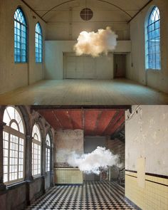 Artist Berndnaut Smilde creates art installations of nimbus clouds by controlling the humidity, temp and light in varied settings. AWESOME.