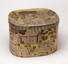 Scene depicts firemen pulling Engine No. 13 toward a burning house. Yellow ground color, block printed in pink and white distemper colors and in olive green/brown with glossy finish. This design continues three times around the circumference of the box. http://www.cooperhewitt.org/2012/10/08/eagle-engine-no-13/