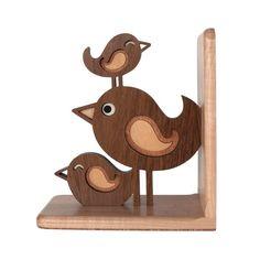 Pájaro pila de madera sujetalibros animales por graphicspaceswood