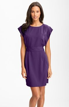 They have this in a pretty green.  Eliza J Drape Sleeve Sash Belt Dress (Regular & Petite) available at #Nordstrom