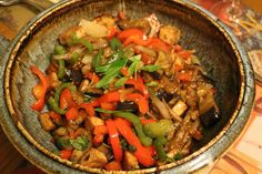 Stir fried aubergine, pepper, tofu and onion with Thai Basil for Meatless Monday
