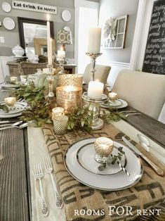 ~rooms FOR rent~: Mercury Glass Thanksgiving Tablescapes Christmas Dining Table, Thanksgiving Centerpieces, Thanksgiving Table Centerpieces, Holiday Tablescape, Rustic Thanksgiving, Rooms For Rent, Deco Table, Decoration Table, Christmas Home