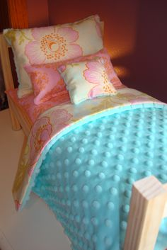 5-Piece Bedding Set Fits American Girl Doll Bed. $29.99, via Etsy.
