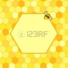Honeycomb background with a hex frame for your text and a cartoon bee vector Stock Vector