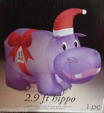 New Cute Santa Hippo W Ribbon Christmas Airn Inflatable Holiday Yard Decor