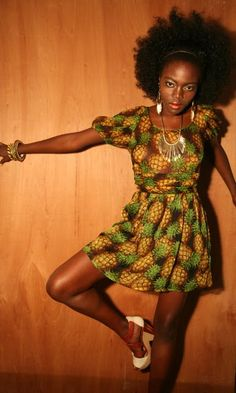 beautiful lady in an ah-mazing pineapple printed dress by autumn adeigbo