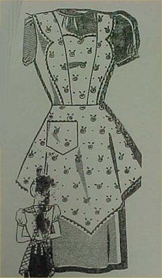 SALE Vintage Bib Apron Full Size Pattern Bust 38 Heart 1940s Sewing Project in Collectibles | eBay