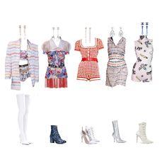 Fashion set 139 created via City Outfits, Kpop Fashion Outfits, Stage Outfits, Korea Dress, Rainbow Outfit, Fashion Lookbook, Korean Fashion, Fashion Looks, Girl Group
