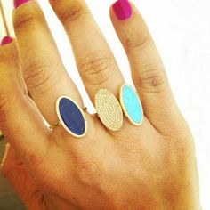 Jennifer Meyer Jewelry Turquoise, Lapis and Diamond Oval Rings, featured on facebook.