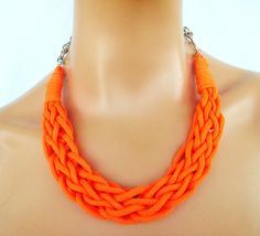 Rope Necklace Braided Necklace Statement Necklace in by vess65, $24.50