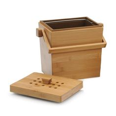 Image of RSVP 4.5 Quart Square Bamboo Compost Pail