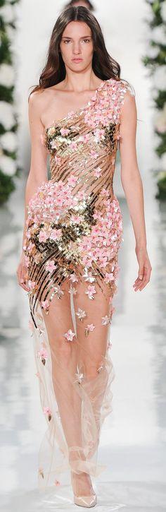Valentin Yudashkin RTW SS 2015 | one-shoulder | pink-based floral embellishment