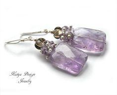 earrings light amethyst, smoky quartz $37.50