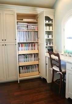 Beautiful Craftroom - paper storage love the pull outs Scrapbook Room Organization, Craft Organization, Scrapbook Rooms, Scrapbook Storage, Organizing Life, Craft Room Storage, Paper Storage, Craft Rooms, Storage Ideas