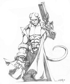 Hi there! here is a sketch commish of Hellboy. I've been trying to draw him for a long time and that one is the good one I think. Hope you enjoy!