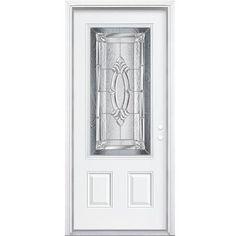 Masonite   32 In. Elmhurst Antique Black Lite Left Hand Entry Door With  Brickmould   569827   Home Depot Canada