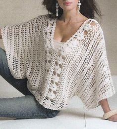 gotta make me one of these in lace, fleece, and the list goes on. Crochet T Shirts, Crochet Clothes, Easy Crochet, Crochet Top, Granny Square Bag, Shawls And Wraps, Pull, Crochet Projects, Crochet Shawl