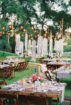 Wedding Reception, Saddlerock Ranch, Flowers by: Moon Canyon, Photo: Braedon Photography - California Wedding http://caratsandcake.com/candaceandmike