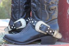 Bisbee Black Leather Boot Straps with Rhinestones http://dumbblondeboutique.com/bibllebostwi.html