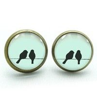 mm Across Material: Glass, Cabochon, Chain, Paper Note: While These Earrings Are A Little Wire Earrings, Stud Earrings, Paper Note, Two Birds, Wish Shopping, Jewelry Box, Cufflinks, Velvet, Chain