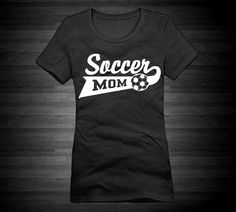 Soccer Mom Fitted Crew Tee For Women In Black by NeonActivewear, $19.99