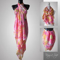 Schal XXL / Tuch Seidenschal Pareo Sarong Strandtuch Beach Dress Scarf - E6