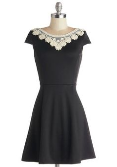 Akin to Audrey Dress in Black. Whether you're attending a luncheon or seeing a show, youll be ready for a classy afternoon spent uptown wih this stunning black dress in your outfit! #black #modcloth